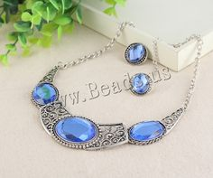 Zinc Alloy Jewelry Sets, earring & necklace, with iron chain & Glass, stainless steel post pin, with 7cm extender chain, antique silver color plated, twist oval chain, nickel, lead & cadmium free, 20-30mm, 20mm, Length:Approx 16.5 Inch,china wholesale jewelry beads