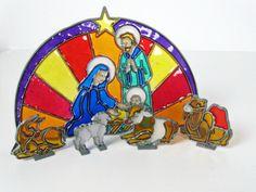 vintage nativity glass sun catcher set - Christmas decoration - 1970s - $12.00