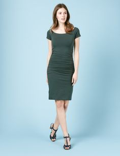 #Boden Off Shoulder Ruched Dress Beetle Green Women #Whether your diary dictates desk, dinner or drinks, this effortless body-con is equal amounts sultry and sophisticated to take you there. In double-layered fabric, with a slight stretch and ruched detailing that you can adjust to suit you, it makes a flattering shape that youll fall back on time and time again. Want to switch up your look? Weve got a longer length, too.
