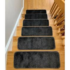 Symple Stuff Hostetler Non-Slip Stair Tread Color: Gray Stair Tread Rugs, Carpet Stair Treads, Carpet Stairs, Types Of Stairs, Stair Mats, Black Stairs, Drain Away, Marble Stairs, Slip And Fall