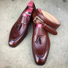 """The """"Corniche"""" in chestnut English grain on a sunny day. Made to Order on the KN 14 loafer last with a matching belt. #gazianogirling #gazianoandgirling #shoeporn #madetoorder #GGCorniche"""