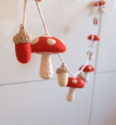 Mushroom acorn ornaments garland felt wool toadstool Alice in wonderland red white woodland nursery baby shower gift