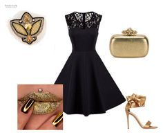"""Beaded brooch Swarovski gold grey black"" by natalialuzik on Polyvore featuring мода, Gianvito Rossi и Alexander McQueen"