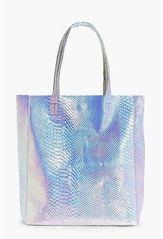 Edie Mermaid Holographic Shopper Beach Bag