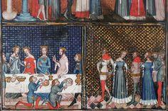 Wedding ceremonies, Valerius Maximus, Fais et dis mémorables des romains (c. 1376), Paris, Bnf, MS fr. 9749, fol. 76v. (Photo taken from A. van Buren (2011) Illuminating Fashion, Dress in the Art of Medieval France and the Netherlands, 1325-1515)