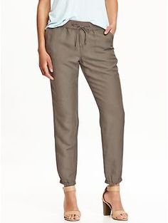 Old Navy Womens Cinched-Cuff Linen-Blend Pants, Barnswallow color $34.94