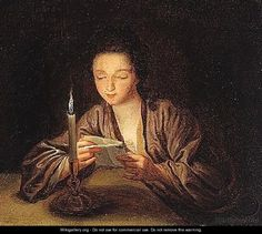 A Woman Reading a Letter By Candlelight, by Jean-Baptiste Santerre