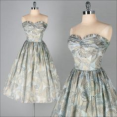 2556   Vtg 50s Gray Metallic Whimsical Circles Strapless Party Prom Dress XS/S