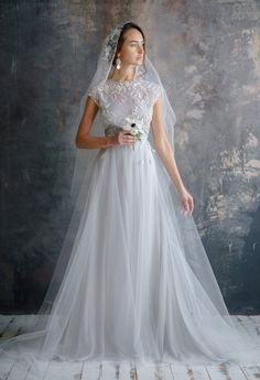 floral rich hand embroidery wedding dress OLEMA ethereal tulle bridal gown romantic open back silk wedding dresses bohemian ethereal bridal - Hochzeit Wedding Dresses With Flowers, Colored Wedding Dresses, Modest Wedding Dresses, Ethereal Wedding Dress, Boho Wedding Dress, One Shoulder Wedding Dress, Floral Wedding, Tulle Wedding, Bridal Gowns