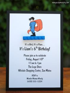 Super Lego Party Invitation