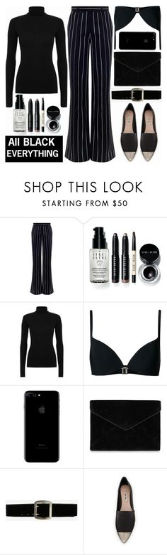 """""""Monochrome: All Black Everything"""" by shoaleh-nia on Polyvore featuring Zimmermann, Bobbi Brown Cosmetics, Rebecca Minkoff, Express and Miu Miu"""