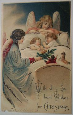 Vintage Christmas Postcard - angels watching over me Old Time Christmas, Old Fashioned Christmas, Christmas Scenes, Christmas Past, Victorian Christmas, Vintage Christmas Cards, Retro Christmas, Vintage Holiday, Christmas Pictures
