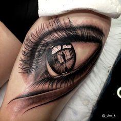 Best 3d Eye Tattoo Design On Girl Thigh