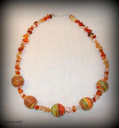 agate and polymer clay beads necklace