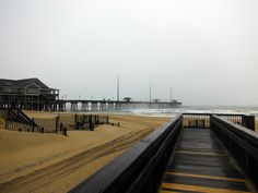 Foggy morning at Jennette's Pier in Nags Head, North Carolina.
