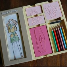 Oh my gosh, this brings back the memories.  Mia would love this.  I just found a set on ebay, I may need to buy... 90s Childhood, My Childhood Memories, School Memories, Fashion Plates, Fashion Magazines, 90s Girl, 80s Girl Toys, Girl Barbie, Girls Toys