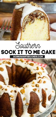 *NEW* Sock It To Me Cake is a delicious Southern butter cake with an amazing streusel filling that makes this one of the most incredible tasting bundt cake recipes of all time. #SouthernRecipe #SouthernFood #SockItToMeCake #StreuselFilling #Streusel #Cake #BundtCake #ButterCake #Dessert #Easter #Desserts #SummerDesserts #SpringDesserts Pound Cake Recipes, Cupcake Recipes, Cupcake Cakes, Dessert Recipes, Cupcakes, Party Recipes, Cheesecake Recipes, Yummy Recipes, Easy Desserts