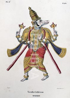 Varaha deva, one of the gods of the Hindu trinity (trimurti) in his third avatar.