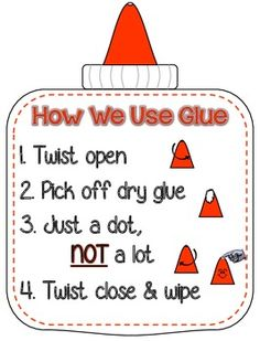 Mini poster to remind kids how to use glue!  TpT