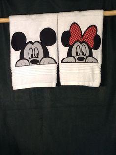 Peekaboo Mickey and Minnie bathroom hand by PatchWorkbyCarol