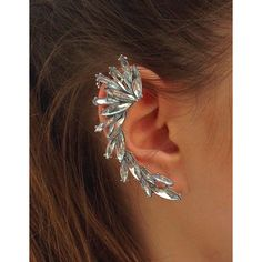 Trendcy Silver Rhinestone Spike Ear Cuff ($9.95) ❤ liked on Polyvore featuring jewelry, earrings, accessories, piercings, silver jewellery, silver ear cuff, pin jewelry, silver tone earrings and spike earrings