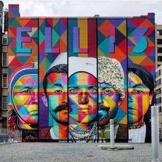 """Ellis / Immigrants"" by Eduardo Kobra at City-as-School, in the West Village, Manhattan, NYC, (LP) 3d Street Art, Kobra Street Art, Street Art News, Murals Street Art, Graffiti Murals, Art Mural, Street Art Graffiti, Street Artists, Graffiti Lettering"