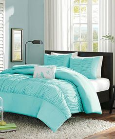 Light Blue Ruffle Chelsea Full/queen Duvet Set