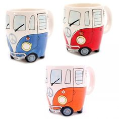 Kombi Campervan Mug - Yellow Octopus