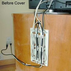 Messy behind TV stand cables without WireMate Cord Organizer - icon Organizing Wires, Cord Organization, Organizing Your Home, Organize Cords, Cord Management, Tv Stand Cable Management, Tv Center, Pc Table, Family Room Walls
