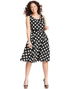 Alfani Plus Size Dress, Sleeveless Polka-Dot A-Line - Plus Size Dresses - Plus Sizes - Macys