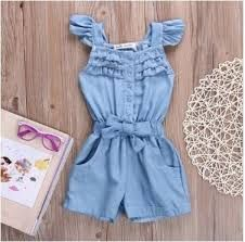 Summer Baby Girls Clothes Toddler Kids Cotton Ruffles Sleeveless Jeans Denim Casual Bow Jumpsuit Girls Romper Overall Clothes Denim Romper, Romper Outfit, Denim Jumpsuit, Toddler Fashion, Kids Fashion, Trendy Fashion, Kids Shoes Near Me, Baby Kind, Girls Rompers
