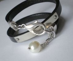 Chic Pearl Wrap Bracelet  Personalized Black by urbanboutique, $38.00