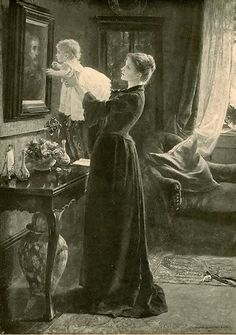 A young widow shows her child a portrait of a lost husband and father.