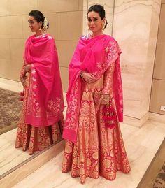 Karisma Kapoor # traditional dressing # lehenga # love for pink# Bollywood fashion Red Wedding Gowns, Indian Wedding Outfits, Indian Outfits, Indian Weddings, Wedding Wear, Wedding Blog, Bridal Dresses, Mode Bollywood, Bollywood Fashion