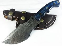 Moorhaus Handmade Damascus Dark Blue & Blue Wood Tracker Knife with Leather Sheath Fixed Blade Hunting Knives, Blue Wood, Dark Blue, Leather, Handmade, Weapons Guns, Camps, Diy Projects, Cold Steel