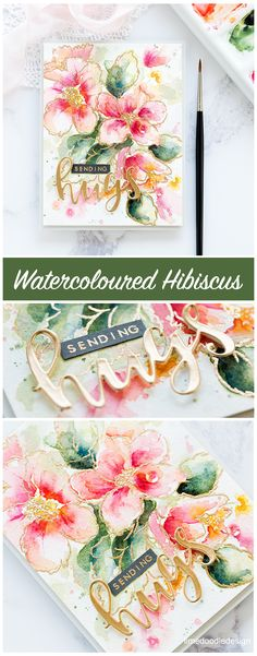 Watercoloured Hibiscus by Debby Hughes Altenew Hibiscus Burst stamp set and Rose Gold embossing powder Handmade Greetings, Greeting Cards Handmade, Card Making Inspiration, Making Ideas, Altenew Cards, Scrapbooking, Pretty Cards, Card Maker, Card Sketches