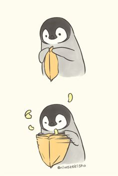 This is basically what happens when I try to open a bag of chips. Source by johannakronewid cute kawaii Cute Animal Drawings, Kawaii Drawings, Doodle Drawings, Cute Drawings, Pinguin Drawing, Penguin Art, Funny Penguin, Penguin Cartoon, Cartoon Mignon