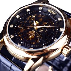 1f315ce24f1 Winner Royal Diamond Design Black Gold Watch Montre Homme Mens Watches Top  Brand Luxury Relogio Male Skeleton Mechanical Watch