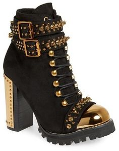 Jeffrey Campbell Scorpius Armored Lug Boot (Women) available at Pumps Heels, Stiletto Heels, High Heels, Crazy Shoes, Me Too Shoes, Combat Boots Style, Shoes Boots Combat, Armor Boots, Studded Combat Boots