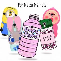 3D Cartoon ZOOTOPIA Bunny Love Potion Chill Pills Minion boy tears soft silicone case cover for Meizu M2 note Meilan Note 2