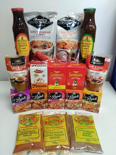 Combat the cold with some warm curry using our curry powders and sauces of various flavours and spices. Curry Spices, Biltong, South African Recipes, Curry Powder, Chutney, Hot Sauce, Grocery Store, Sauces, Spicy