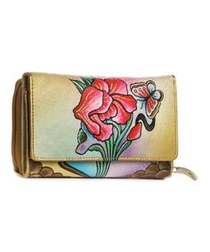 This Pink & White Floral Hand-Painted Leather Wallet by Magnifique Bags is perfect! #zulilyfinds