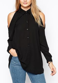Got an informal business meeting to attend in the weekend? Slip into something comfortable yet dressy, such as this black cold shoulder button-down shirt. #lookbookstore #FashionClothing