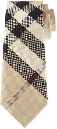 Burberry Classic Check Silk Tie, Taupe