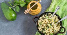 Kuskus s avokádom, orieškami a medom Paella, Grains, Rice, Ethnic Recipes, Food, Essen, Meals, Seeds, Yemek
