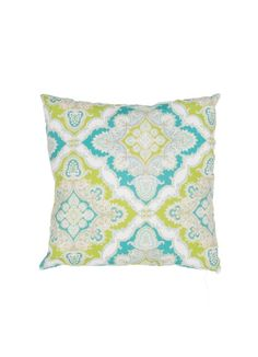 Aqua and Lime Outdoor Pillow