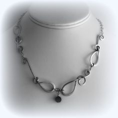 Sterling Silver with black onyx Component Necklace. Hand Made