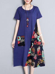 Women Patchwork Short Sleeve O-neck Vintage Dresses