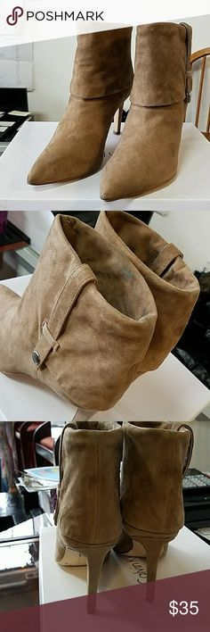 Preowned suede Calvin Klein booties sz 8.5 M Bethany K suede boots in mink. Boots need some deep cleaning in spots and a little wear on toe shown in 2nd pic. Calvin Klein Shoes Ankle Boots & Booties