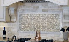 Kitchen. Kitchen Backsplash Chateau Stone Tiles With Warm Color Accent For…